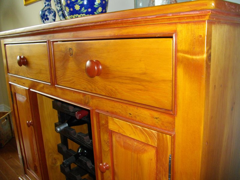 Close up view of wine side board cabinet.